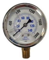 2000 PSI Pressure Gauge - Stainless Steel